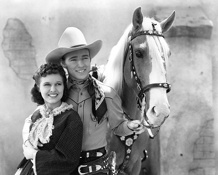 Lynne Roberts, Roy Rogers, and Trigger in Billy the Kid Returns (1938)
