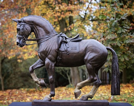 Bronze statue of Valegro, famous dressage horse ridden by Charlotte Dujardin