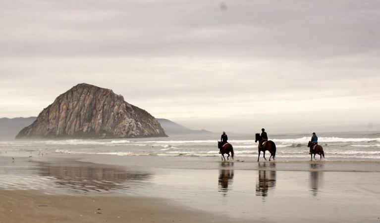 Three horse riders on Morro Strand State Beach in California