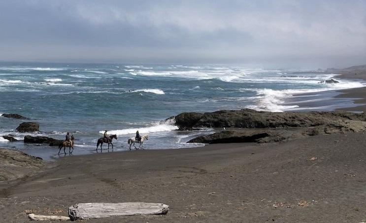 Three horseback riders from Ricochet Ridge Ranch enjoy Ten Mile Beach on the Pacific Coast in Fort Bragg, California.