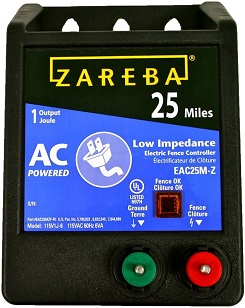Zareba EAC25M-Z 25 Mile AC Powered Low Impedance Charger