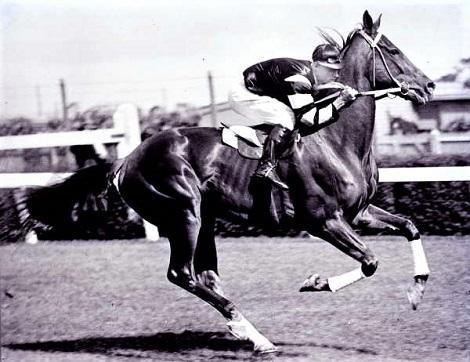 Phar Lap with jockey Jim Pike riding at Flemington race track in 1930