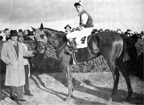Assault being ridden by jockey Eddie Arcaro after winning the 1946 Westchester Handicap.