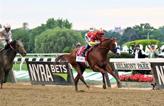 Two horses racing in the Belmont Stakes horse race