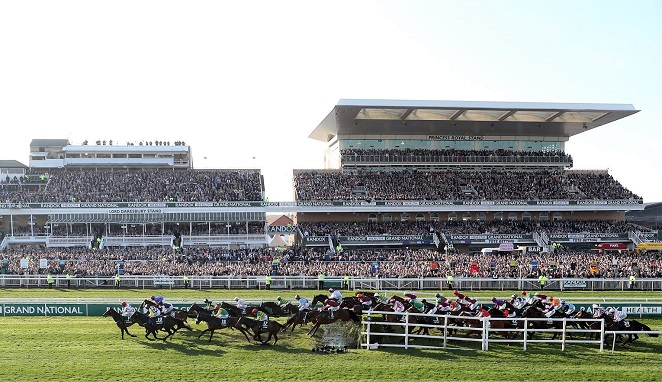 The Grand National horse race at Aintree race track in Liverpool, England