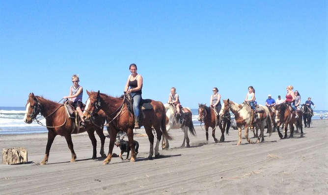 Group of horse riders on Long Beach in Washington