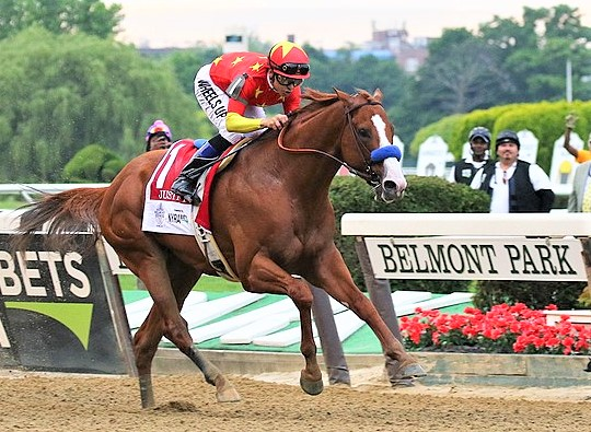Justify winning the Belmont Stakes horse race