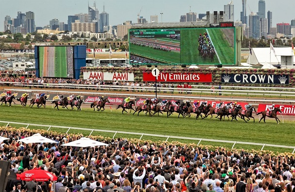 Melbourne Cup horse race 2012 with horses and crowd