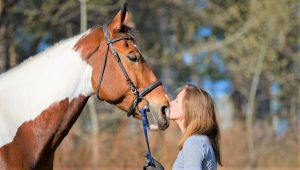 Woman kissing and talking to a horse