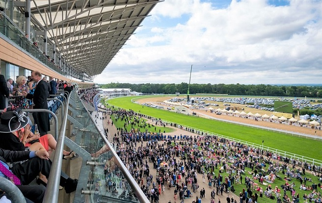 Royal Ascot horse race in 2015. Stadium, crowds and race track