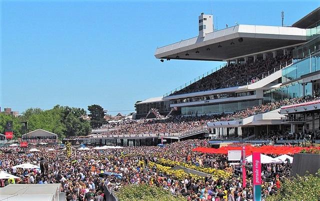 Large crowd at Flemington horse Racecourse in Australia