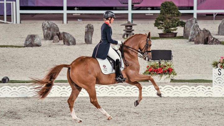 Gio and Charlotte Dujardin in a dressage test at the Tokyo 2020 Olympics