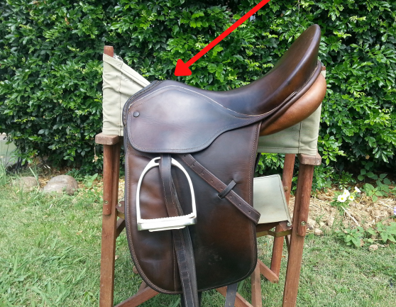 Arrow pointing to the Pommel part of an English saddle