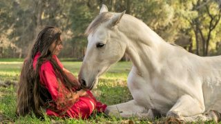 Woman laying down with a white Azteca horse
