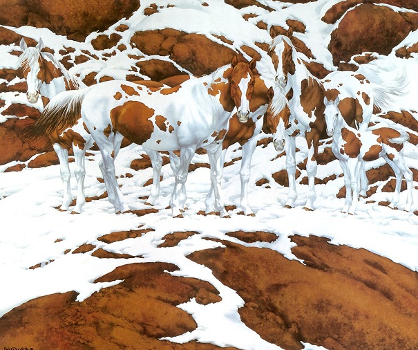 horses and snowy mountain illusion